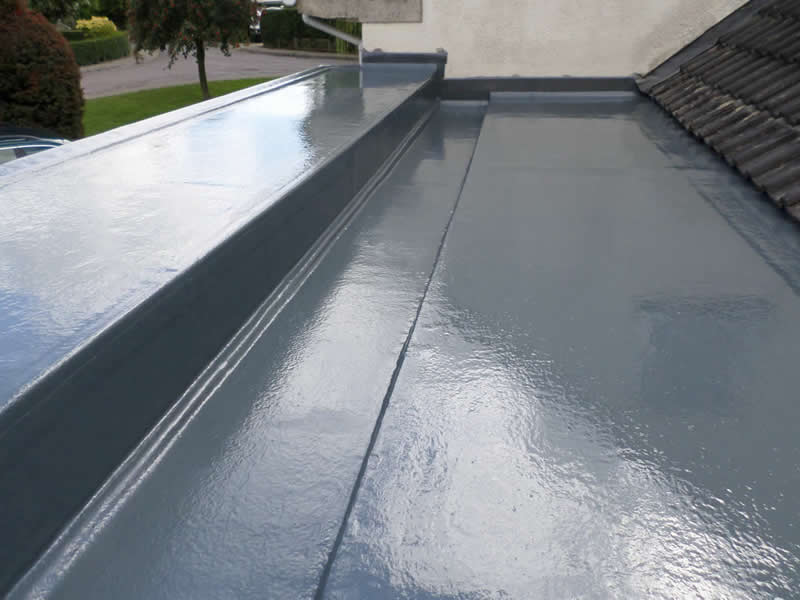 GRP fibreglass flat roof finished