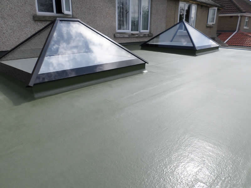 GRP roofing with pyramid windows