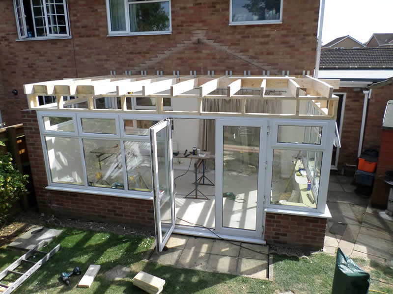 Wooden Structure of replacement conservatory roof - replaced with GRP (Fibre glass)
